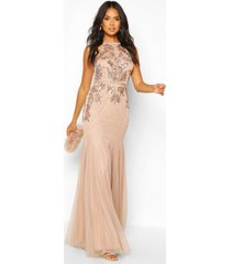 bridesmaid hand embellished halter maxi dress, blush