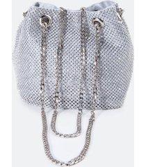 dani mini rhinestone bucket bag in silver - silver