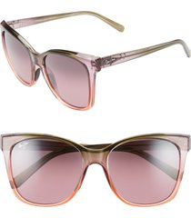women's maui jim alekona 55mm polarizedplus2 sunglasses - blush/ mossy/ peach
