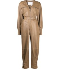remain long-sleeve leather jumpsuit - neutrals