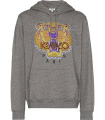 kenzo hiking tiger embroidered hoodie - grey