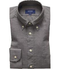 eton overhemd flannel grijs slim fit