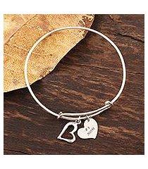 sterling silver bangle charm bracelet, 'number one mom' (india)