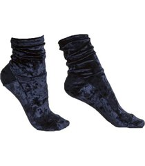 midnight blue crushed velvet socks