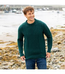 men's traditional merino wool aran sweater dark green large