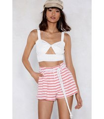 womens marry the stripes high-waisted shorts - red