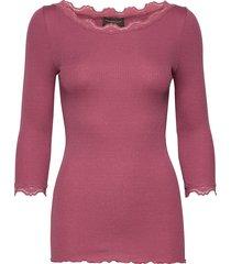 silk t-shirt boat neck regular w/vi t-shirts & tops long-sleeved roze rosemunde