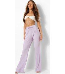plisse broek met wijde pijpen en strik, lilac
