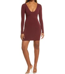 women's naked wardrobe snatched bustier long sleeve rib body-con dress, size x-small - burgundy