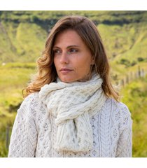 womens cream cozy aran scarf