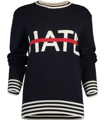 no hate itarsia crewneck sweater