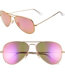 ray-ban standard icons 58mm mirrored polarized aviator sunglasses - gold/ pink mirror