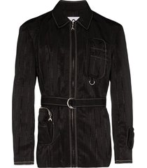 black multi-pocket belted jacket