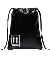 off-white small drawstring pouch bag - black