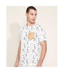 camiseta masculina estampada de ilha com bolso manga curta gola careca branca