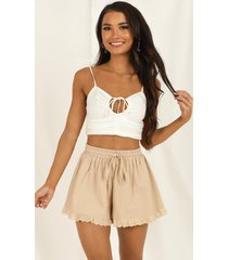 showpo dont foul me shorts in beige - 18 (xxxl) tailored shorts
