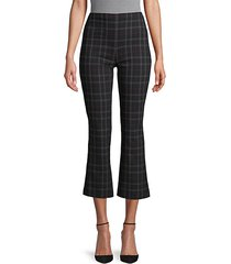 plaid stretch-cotton flared leg pants