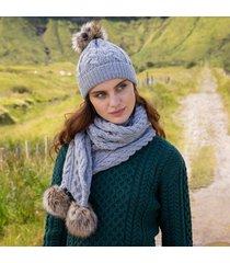 soft gray aran bobble hat & scarf set