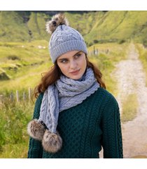 soft gray aran bobble hat & scarf set