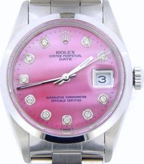 mens rolex date stainless steel watch oyster band pink mop diamond dial 15200