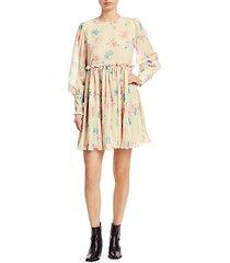 pleated floral georgette babydoll dress