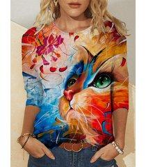 camicetta a maniche lunghe casual con scollo a o con stampa floreale di gatto