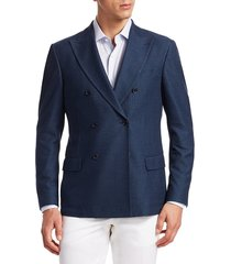 saks fifth avenue men's collection double breasted jersey knit jacket - blue - size 42 l
