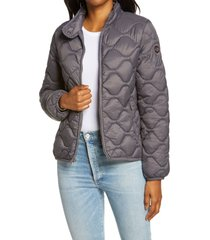 women's ugg selda packable water resistant quilted jacket, size small - grey