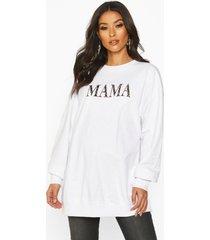 zwangerschaps luipaardprint mama sweater, white