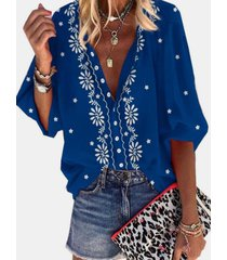 camicetta casual da donna con maniche a 3/4 stampa fiori etnici