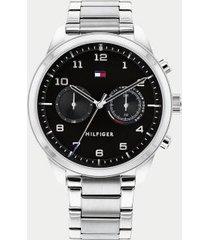 tommy hilfiger men's stainless steel bracelet watch silver/black -