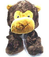 touca thata esportes pelúcia gorro cachecol animais bichinho cosplay fantasia infantil protetor de mão macaco - kanui