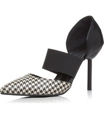 plaid stripe check pointed toe slip on décolleté con tacco alto