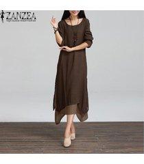 zanzea nueva manera de algodón de lino vestido de las mujeres de la vendimia floja ocasional del o-cuello de boho maxi largo de los vestidos más del tamaño vestidos 3 colores (café) -marrón