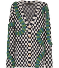 the elder statesman contrast braid checkered cardigan - blue