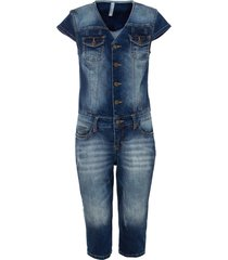 jeansjumpsuit i caprilängd