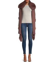 fox fur-trim cashmere cape