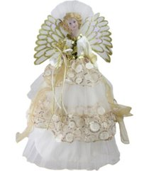 "northlight 16"" lighted fiber optic angel in cream and gold sequined gown christmas tree topper"