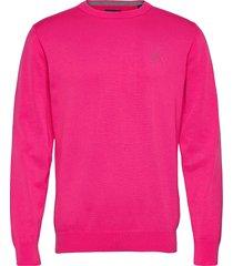 classic cotton c-neck stickad tröja m. rund krage rosa gant