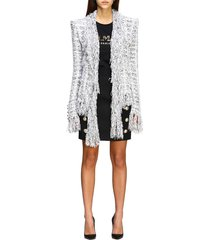 balmain jacket balmain jacket in lurex bouclé knit with fringes
