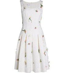 embossed floral flare dress
