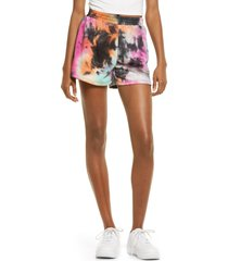 women's all in favor french terry tie dye shorts, size x-small - pink