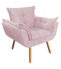 poltrona decorativa opalla pés palito rosê - ds móveis