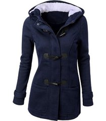 chaqueta abrigo/algodón clásico con gorro manga larga para mujer-azul