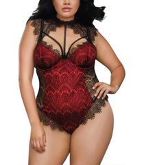 dreamgirl plus size teddy with contrast lace overlay