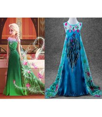 frozen fever elsa princess costume party fancy dress suit 3/4 5 6 7 8 9 10 years