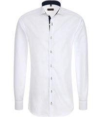eterna heren overhemd fijn oxford shark slim fit wit