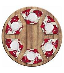 jogo americano love decor  para mesa redonda wevans red geometric kit com 6 pçs
