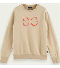 scotch & soda logosweater met ronde hals van biologisch katoen