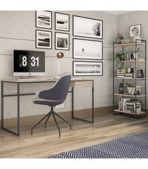 escritório completo 1 gaveta carvalho/preto 2079 - brastubo